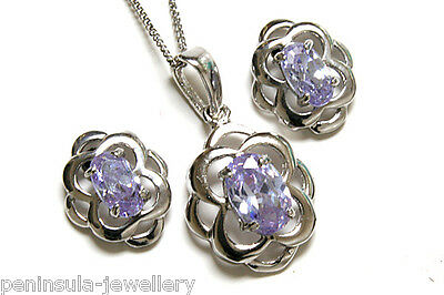 9ct White Gold Lilac CZ Celtic Pendant and Earring Set Gift Boxed Made in UK