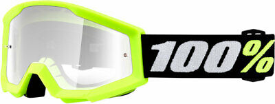 100% MX Motocross Kids PeeWee STRATA Mini Goggles (Yellow w/Clear Lens) Youth