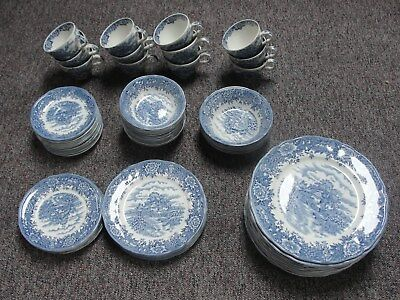 69 Piece English Village by Salem China Co. Olde Staffordshire 6 Settings Plus