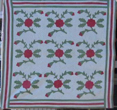 "Antique "" Whig Rose ""Applique Quilt  In Red and Green with Trlple Borders #17681"