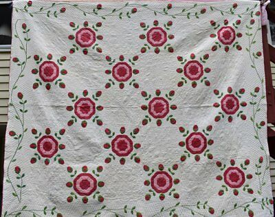 """Red and Green Antique """" Rose of Sharon"""" Applique Quilt #18125"""