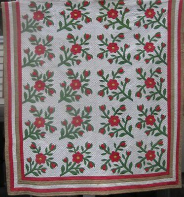 """Red and Green Antique """" Rose of Sharon"""" Applique Quilt #17957"""