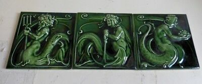 RARE gorgeous Set 3 tile ART NOUVEAU Villeroy & Boch Neptune sea gods MERMAIDS
