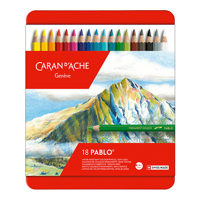 Caran D'Aache Pablo Permanent Colour Pencils Tin of 18 Assorted Coloured Pencil