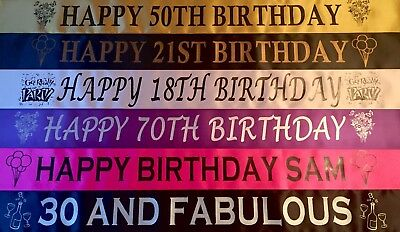 Personalised Birthday 16Th 18Th 21St 30Th 40Th 50Th 60Th 70Th Banners