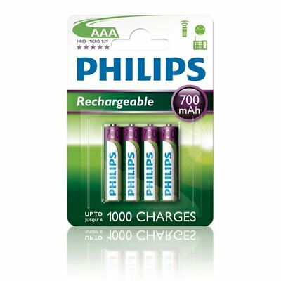 Pack de 4 Micro-batteries rechargeables Philips Multilife AAA 1,2V 700mAh NiMH