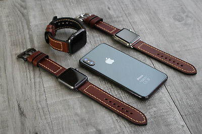 For Apple Watch Series 4 3 38/40mm 42/44mm Thick Brown Leather Watch Strap Band