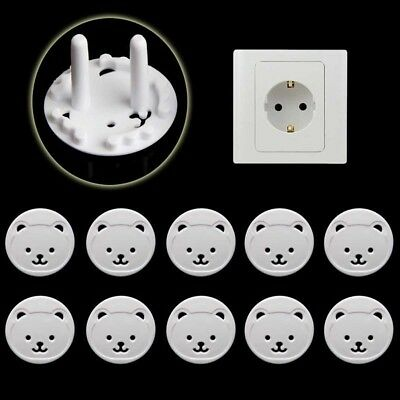 Power Kid Socket Cover Baby Child Protector Guard Mains Point Plug Bear White