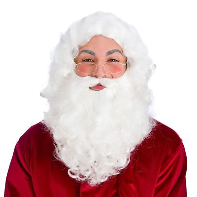 Adult Deluxe SANTA WIG BEARD GLASSES Xmas Fancy Dress Festive Christmas Clause