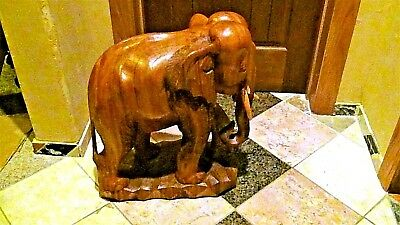 """Antique Asian Large Mahogany Wood Hand Carved Elephant 18""""h Statue"""