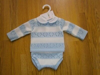 Baby Boy Clothes Spanish Romany Style 2 Piece set Knitted Blue 0-3m 3-6m 6-9m