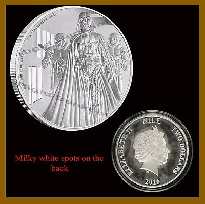 Star Wars $2 Proof 1 Oz Silver Coin, 2016 Darth Vader Classic Niue Disney W/COA