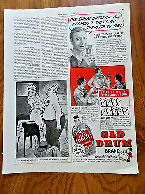 1939 Old Drum Brand Blended Whiskey Ad