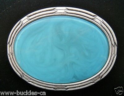 Turquoise Light Blue Colored Antique Silver Belt Buckle