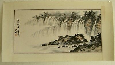 Fine Old Chinese Forest Waterfall Nature Silk Scroll Painting Artist SIGNED