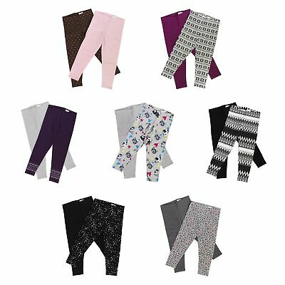 Kirkland Signature Cotton Leggings Pants for Girls - 2 Pack - Elastic Waist