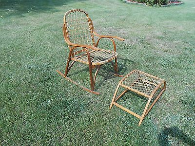 Mid Century Snocraft Rocking Chair and Foot Stool, Norway Maine