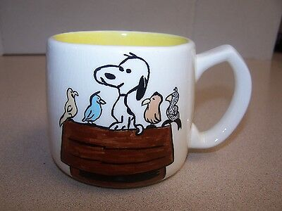 """""""Snoopy With Friends"""" on Doghouse Coffee Tea Cup 12 oz-""""HOMEMADE-VINTAGE"""""""