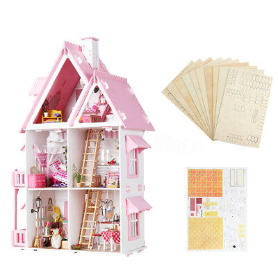 Large Wooden Kids GIFT Doll House Barbie Kit Play Dollhouse Mansion Furniture AU