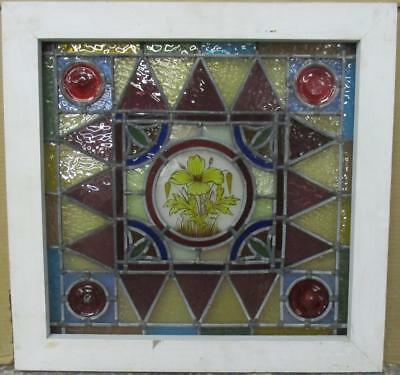 "OLD ENGLISH LEADED STAINED GLASS WINDOW Handpainted Floral 20.5"" x 19.75"""