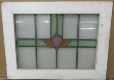 "OLD ENGLISH LEADED STAINED GLASS WINDOW Cute Abstract 22.75"" x 17.25"""