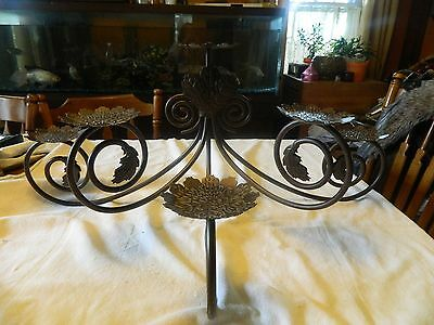 Brown Metal Wrought Iron Candelabra Fire Place 6 Candle Holder Flower Leaf