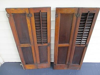 Antique Victorian shutters/with hardware/hinges. Solid Panels with louvers.