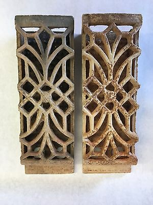 Vintage pair of ceramic insert grates gas radiant heater bricks