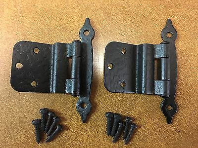 6 pair Vintage McKinney Cabinet Door Hinges Forged Iron NOS with screws
