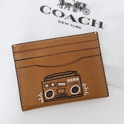 Coach Keith Haring F87106 Slim Card Case Caramel Leather