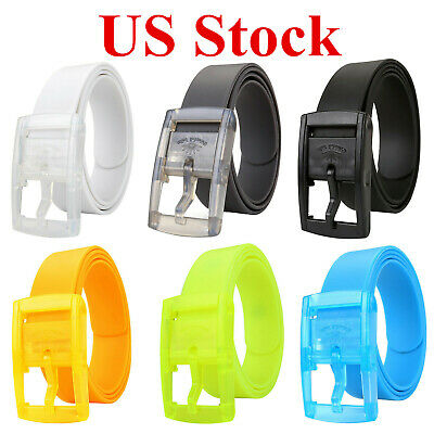 Mens Womens Candy Plain Smooth Silicone Rubber Leather Belt Plastic Buckle Vogue