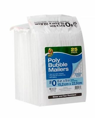 Duck Bubble Wrap Pack of 25 Cushioned Poly Envelope - White, 6 in. x 9 in. #0