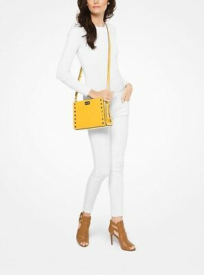 1f982675db3506 $278 NWT Michael Kors Sylvie Studded Leather Messenger Crossbody Purse  Sunflower
