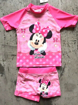 New Sz 1-5 Swimwear Disney Minnie Mouse Kids Girl Swim Suit Swimming Bathers Top