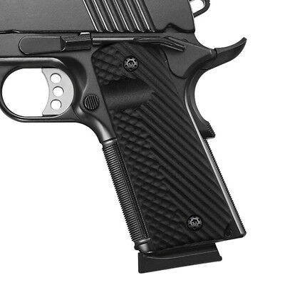 1911 G10 GRIPS Full Size Black Ambi Safety Mag Release Cool Hand H1-J1-1
