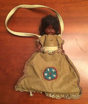 Antique Vintage Child Handbag,Articulated Doll,Real Leather,Indian Beaded Dress