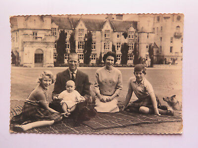 REAL PHOTO POSTCARD of QUEEN ELIZABETH II & FAMILY c1961 POSTCARD is DAMAGED