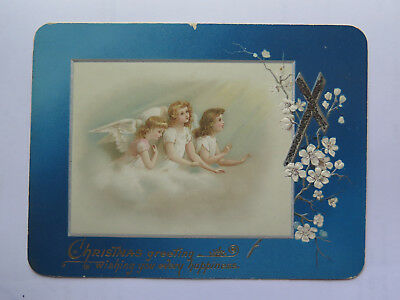 CHRISTMAS GREETINGS CARD 3 ANGELS LOOKING TOWARDS CROSS & FLOWERS RAISED c1900