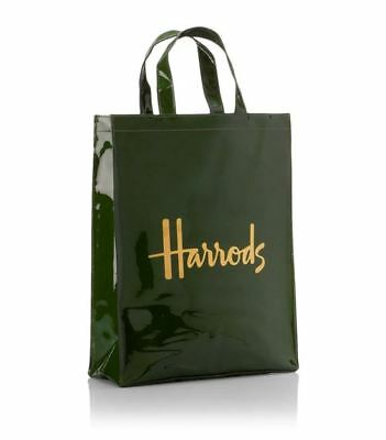 NEW Harrods Signature Shopping tote Carrier Bag Green & Gold
