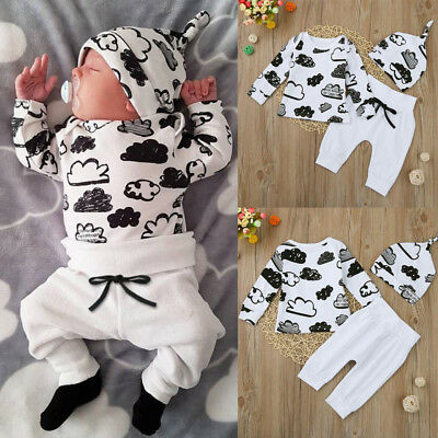 Toddler Infant Baby Girl Boy Cloud Print T-Shirt Tops+Pants Outfits Clothes Set