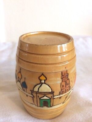 VINTAGE RETRO USSR TURNED WOODEN POT with LID - WINTER SCENE - CHRISTMAS GIFT