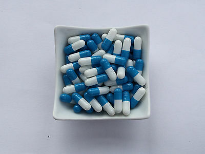 100 Empty  BLUE and WHITE size 3 capsules self fill  Gelatine gelatin