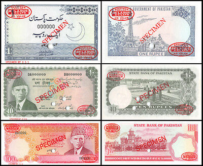 Pakistan 1 to 100 Rupees 3 Pieces (PCS) Specimen Set, 1972-84, P-8sT31s, UNC