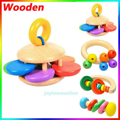 Funny Baby Kids Wooden Handle Bell Hand Shake Rattle Musical Education Toy Gift