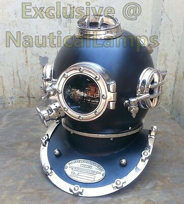 "US Navy Mark V Diving Divers Helmet Solid Antique Full Size 18"" Vintage Black"