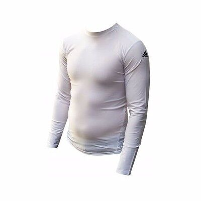 SALE Adidas Compression Top MMA Rash Guard White Long Sleeve Sports Base Layer