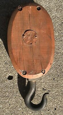 Antique Large Wood Pulley Block and Tackle Rope Hay Lift