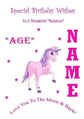 Unicorn Personalised Birthday Card Daughter Niece Sister Any 1st 2nd 3rd 4th Etc