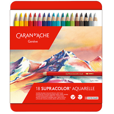Caran D'Ache SupraColor Artist Quality Soft Water Soluble Colour Pencil 18 Set