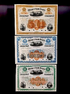 Chicago & South Western Railway Co. FULL SET 3 - FRAME THESE THREE - ART - RN U1